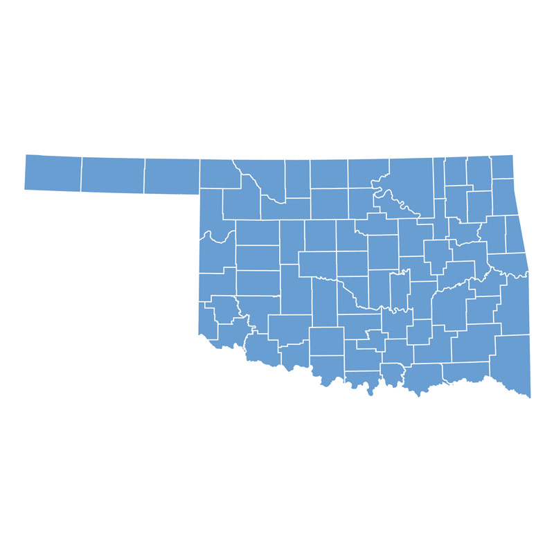 Map of Oklahoma by Counties in Blue